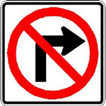 No Right Turn Sign