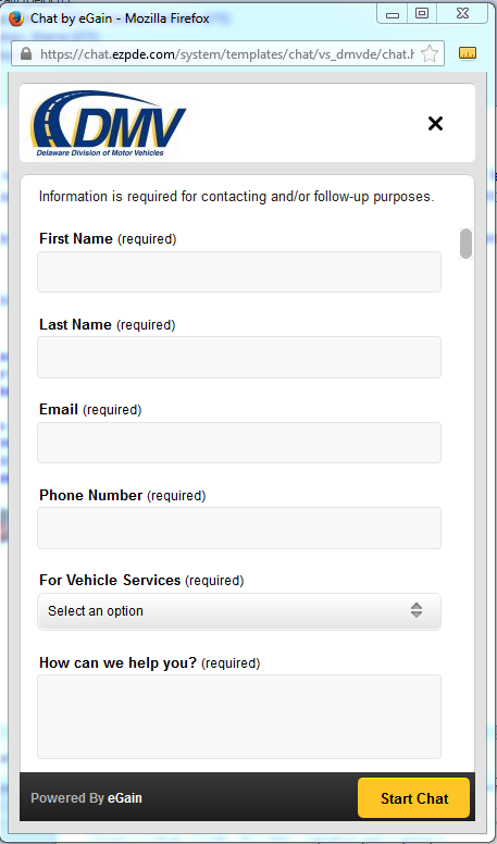 Delaware Division of Motor Vehicles - Live Chat Support